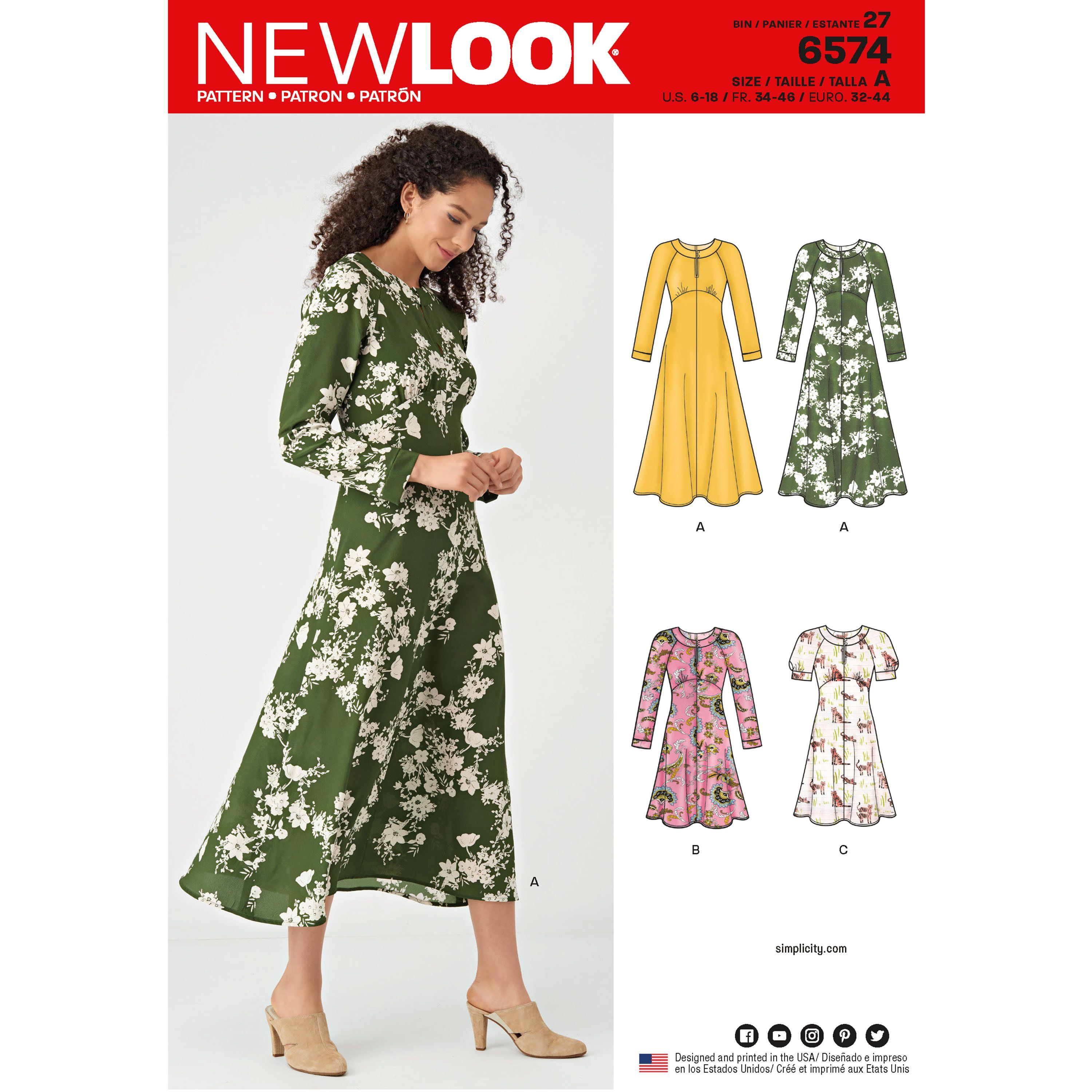 New Look Sewing Pattern 6574 Misses' Dresses