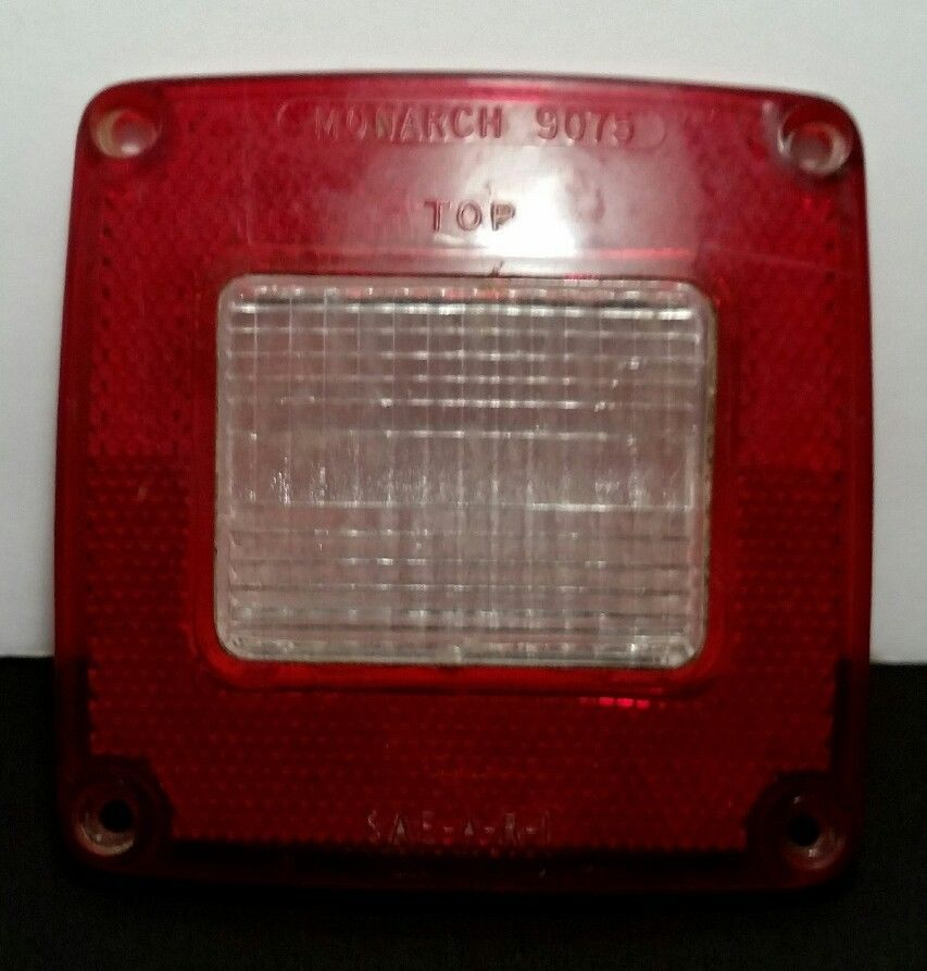 Vintage Monarch Red Lens Clear Center 9075 Sae A R 1 4 1 4 X 4 1 4 Vintage Red Clear
