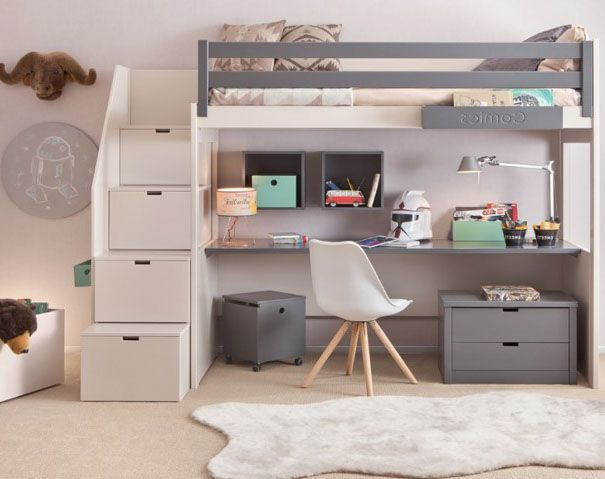 The loft bed with storage is perfect to solve the problem of sleeping in a studio or a small area, and to optimize the space of the room. #weddingdecorations #bathroomdecor