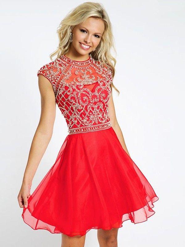 Red Mini Chiffon Dress