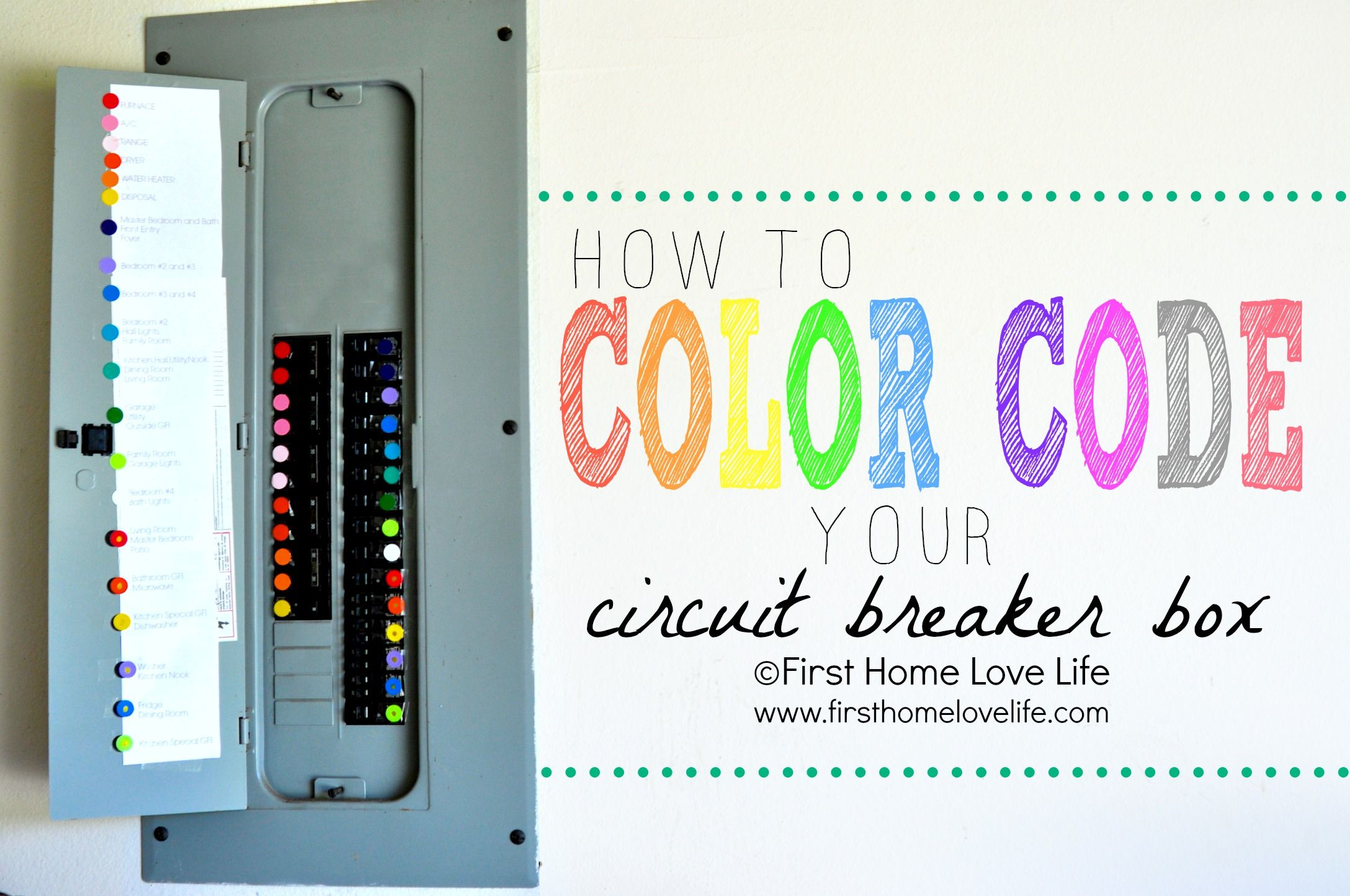 Color Coding Your Circuit Breaker Box Organized Pinterest Diy Diycolor We Did This In Our Home Itlooks And Works Great