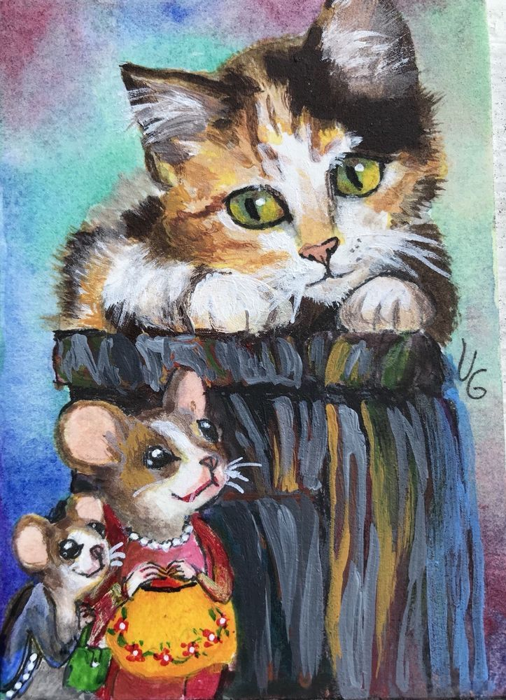 ACEO original painting Cat Mouse Visitors Animal