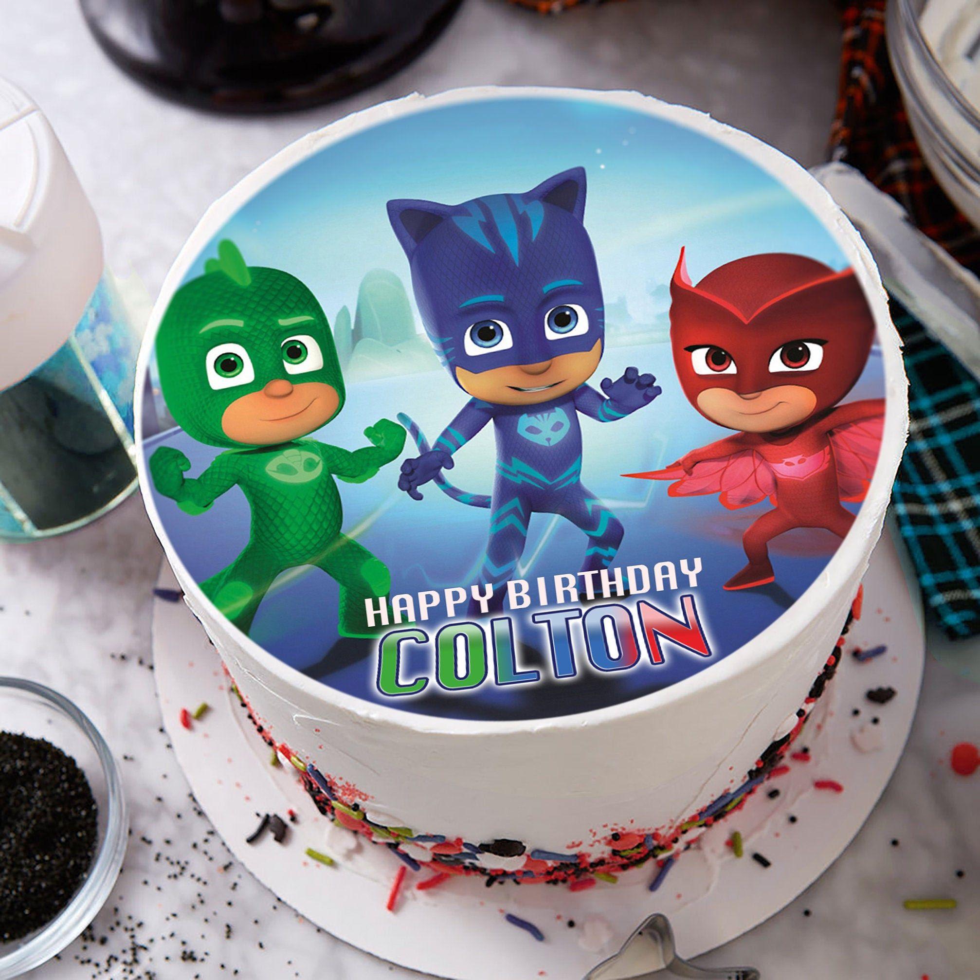 Pj mask image edible cake topper party decoration