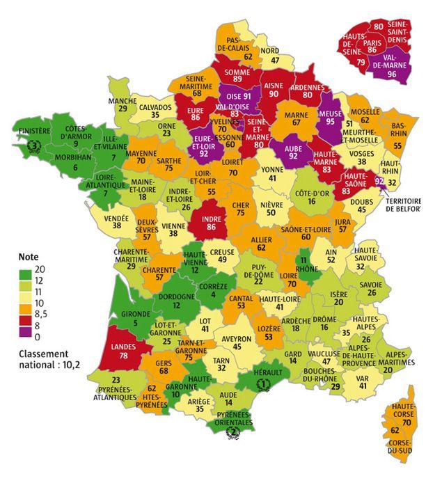 Les départements français notés selon des critères écologiques