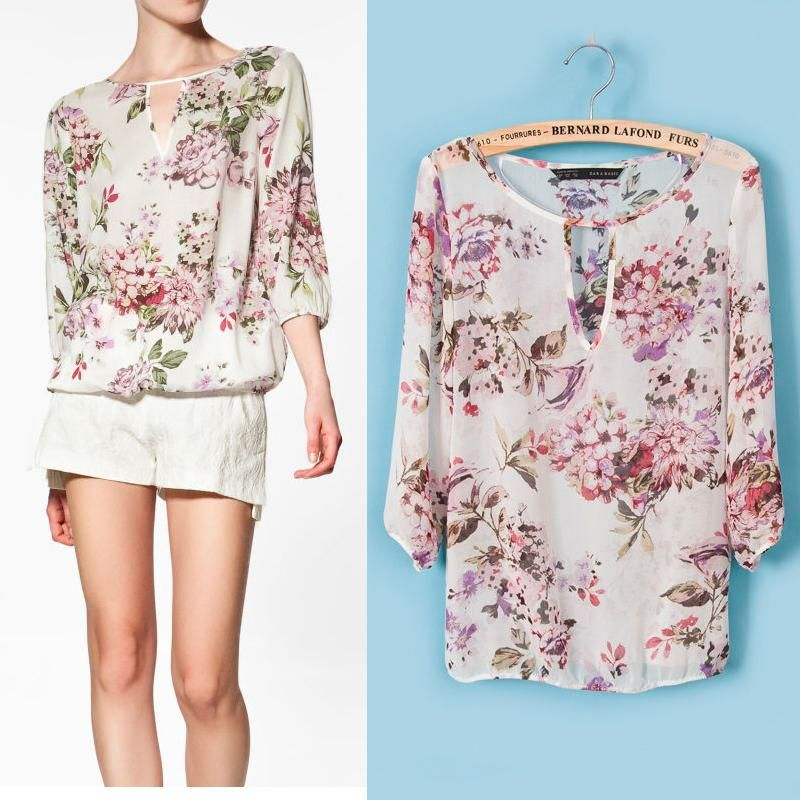 floral blouses (24) | outfit | Pinterest | Ladies shirts, For ...