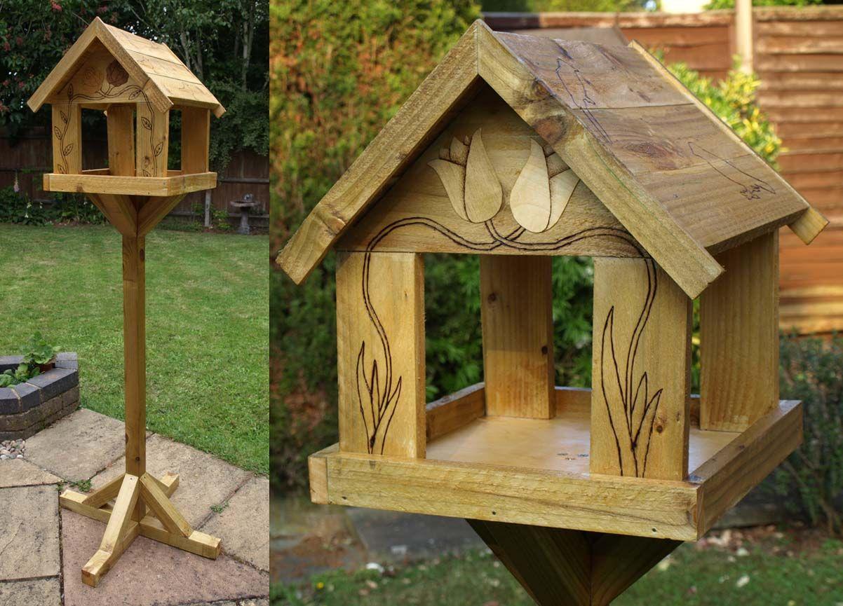 Birdhouse constructed of wood bird house design free standing bird - Bird Table Designs Free