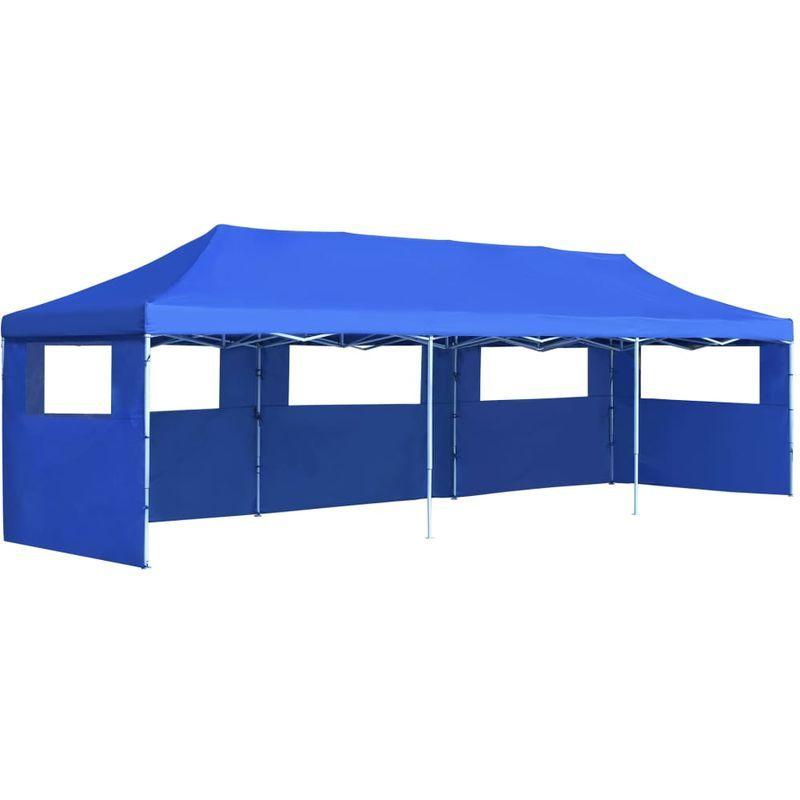 vidaXL Tente Réception Pliable Chapiteau Tonnelle Pavillon Jardin Bleu//Crème