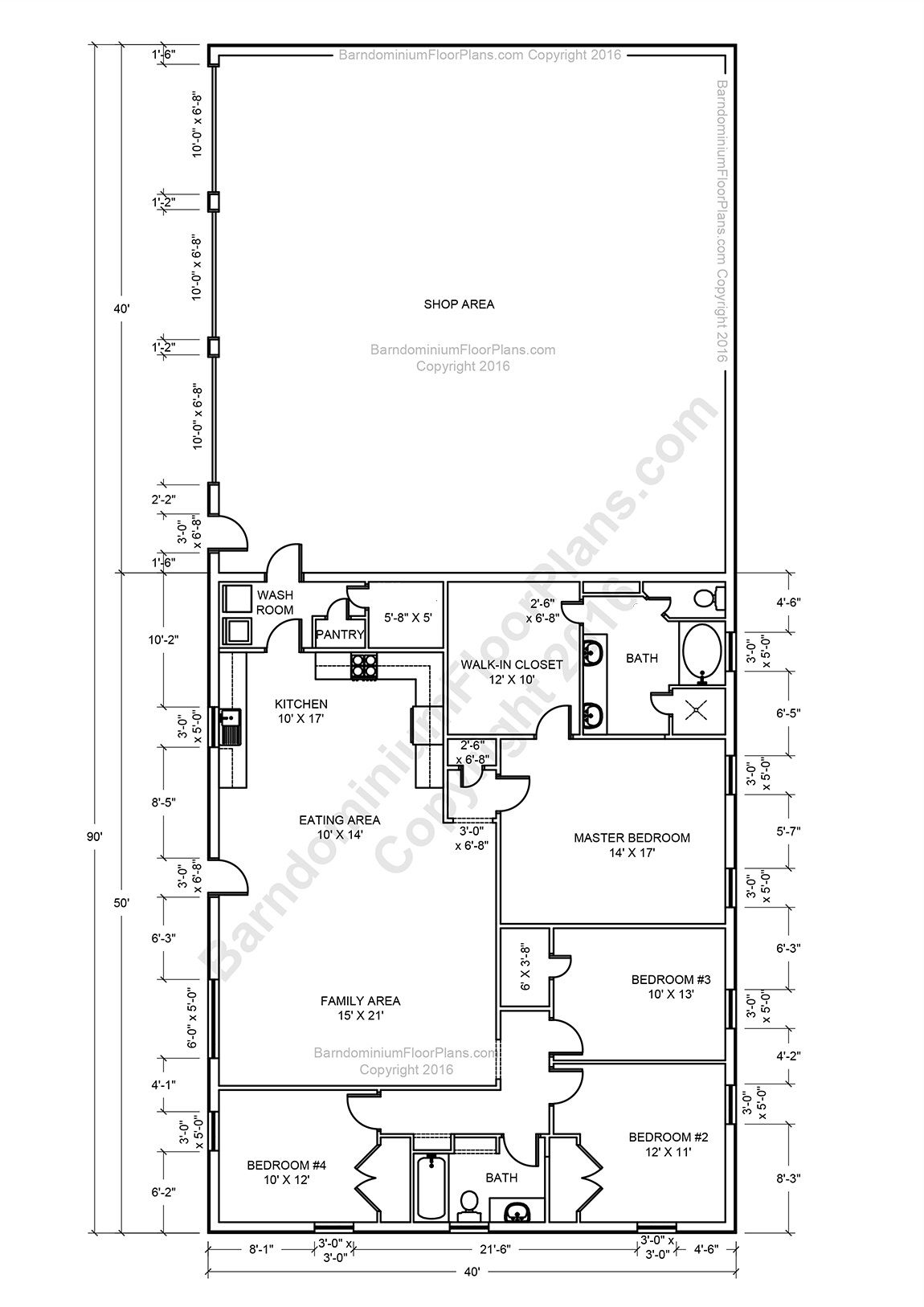 Barndominium floor plans pole barn house plans and metal for Barn living floor plans