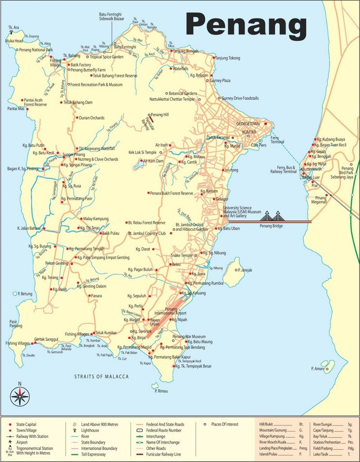 Large detailed map of Penang Maps Pinterest Malaysia
