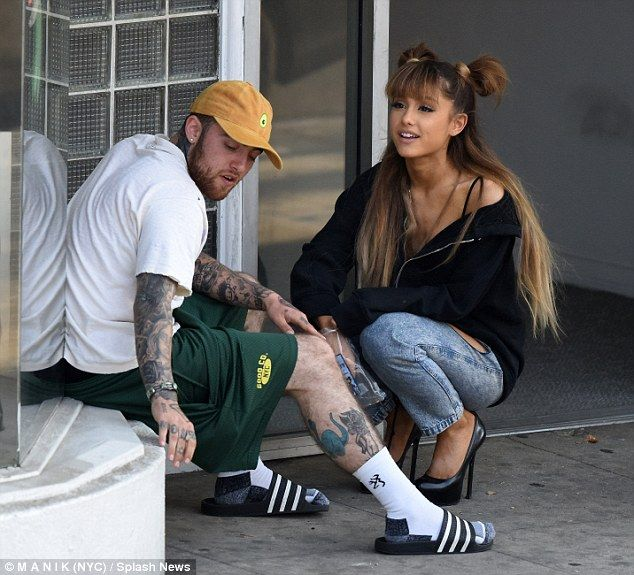 4efa84d6b Ariana Grande leaves tattoo parlor with rumored boyfriend Mac Miller ...