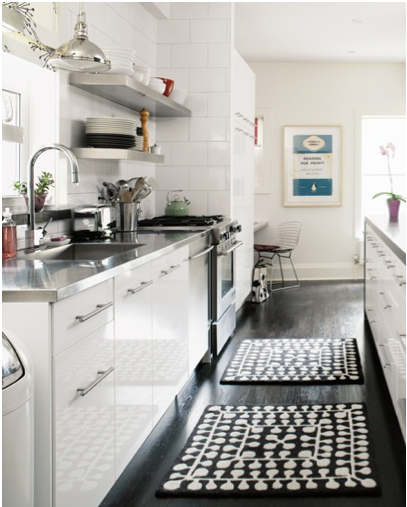 What Color Rug For A Black And White Kitchen White
