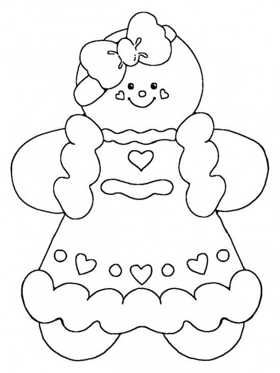 Free Coloring Pages Christmas Gingerbread Man Template For