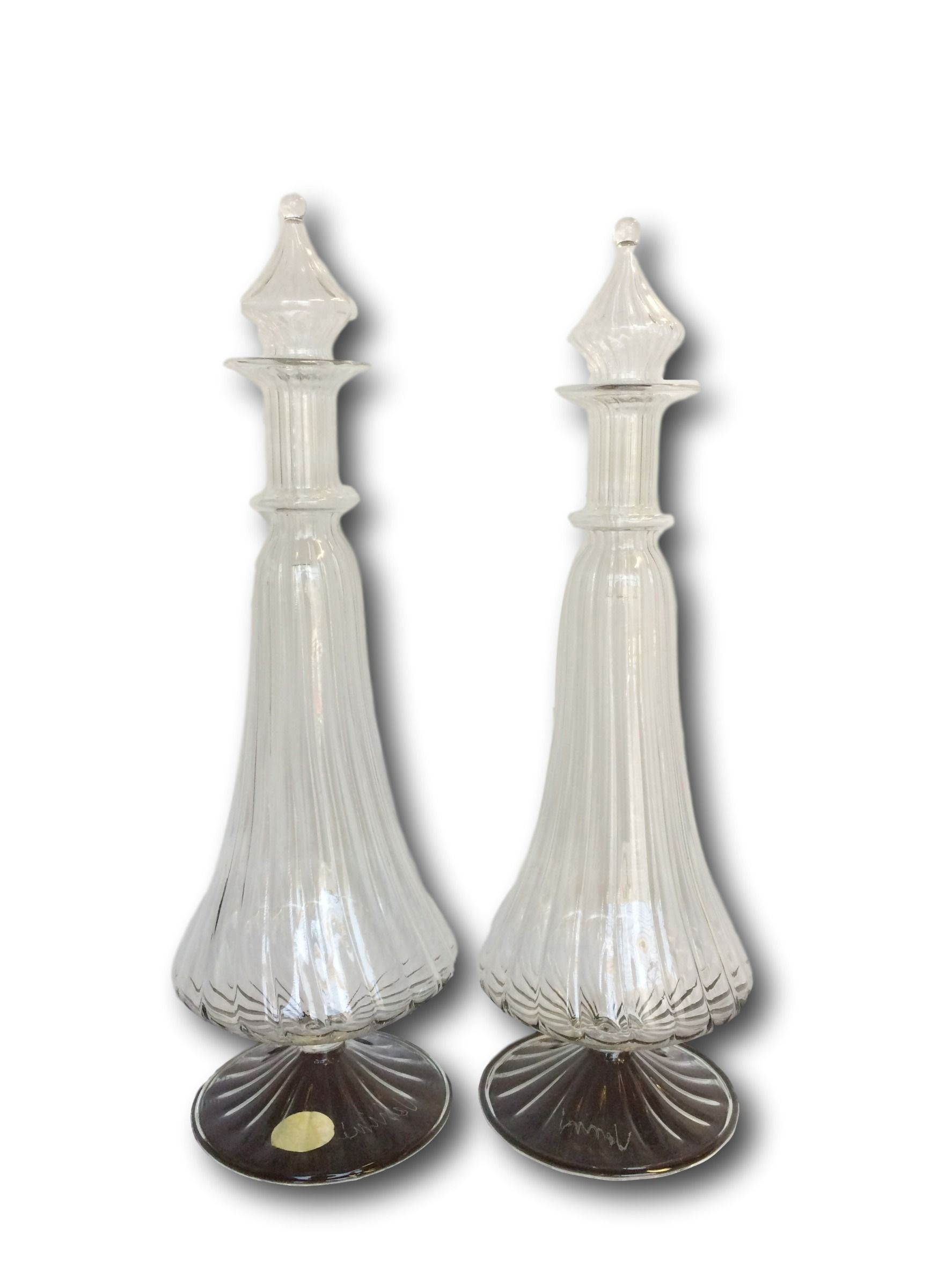 Pair signed mid-20th. century Venini clear decanters