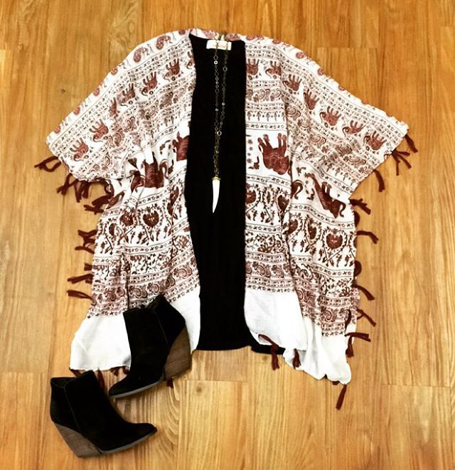 "Pants Store on Instagram: ""We love this elephant print kimono paired with one of our favorite black shift dresses! What a cute outfit for gameday! Come shop! RTR #pantsstore #ootd #gameday"""