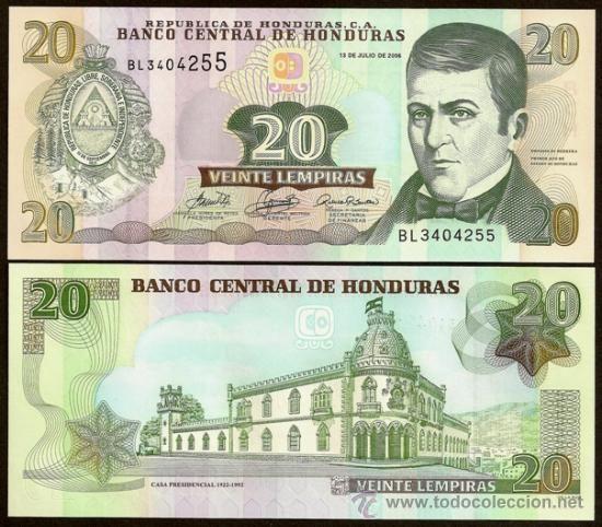 Dinero De Honduras Billete 20 Lempiras 13 7 2006 Pick 93b Bonito S C