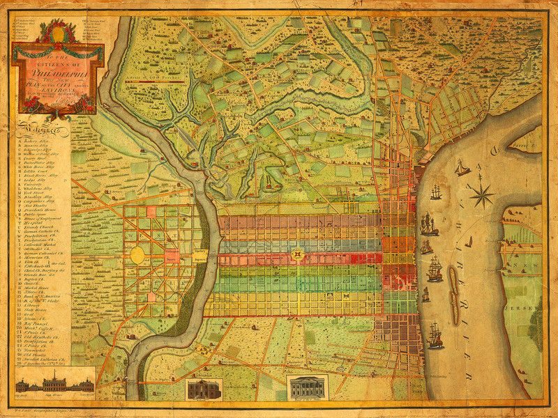 Map of Philadelphia by Charles Varle City is shown from Delaware - copy hong kong world map asia