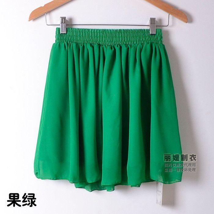 New Fashion Summer Skirts Sexy Mini Pleated Skirt Solid Color High Waist Stretch Cute Chiffon Skirts Womens