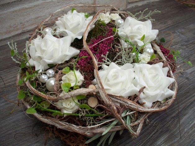 Kränze - Tischkranz,weiße Rosen+Erika,natürlich,Türkranz - ein ...