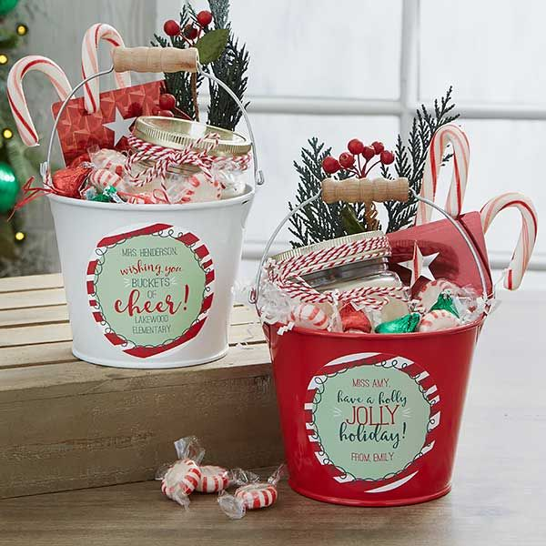Holly Jolly Personalized Mini Metal Teacher Bucket - White