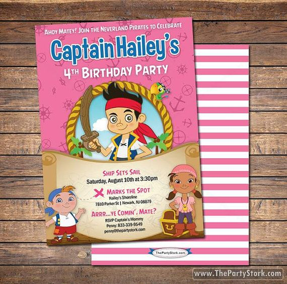 Jake and the neverland pirates invitations printable girls pirate jake and the neverland pirates invitations printable girls pirate birthday party invitation free back filmwisefo
