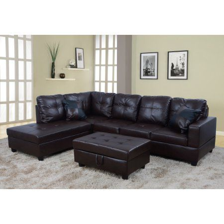 Pleasing Raphael Faux Leather Left Facing Sectional Sofa With Ottoman Squirreltailoven Fun Painted Chair Ideas Images Squirreltailovenorg