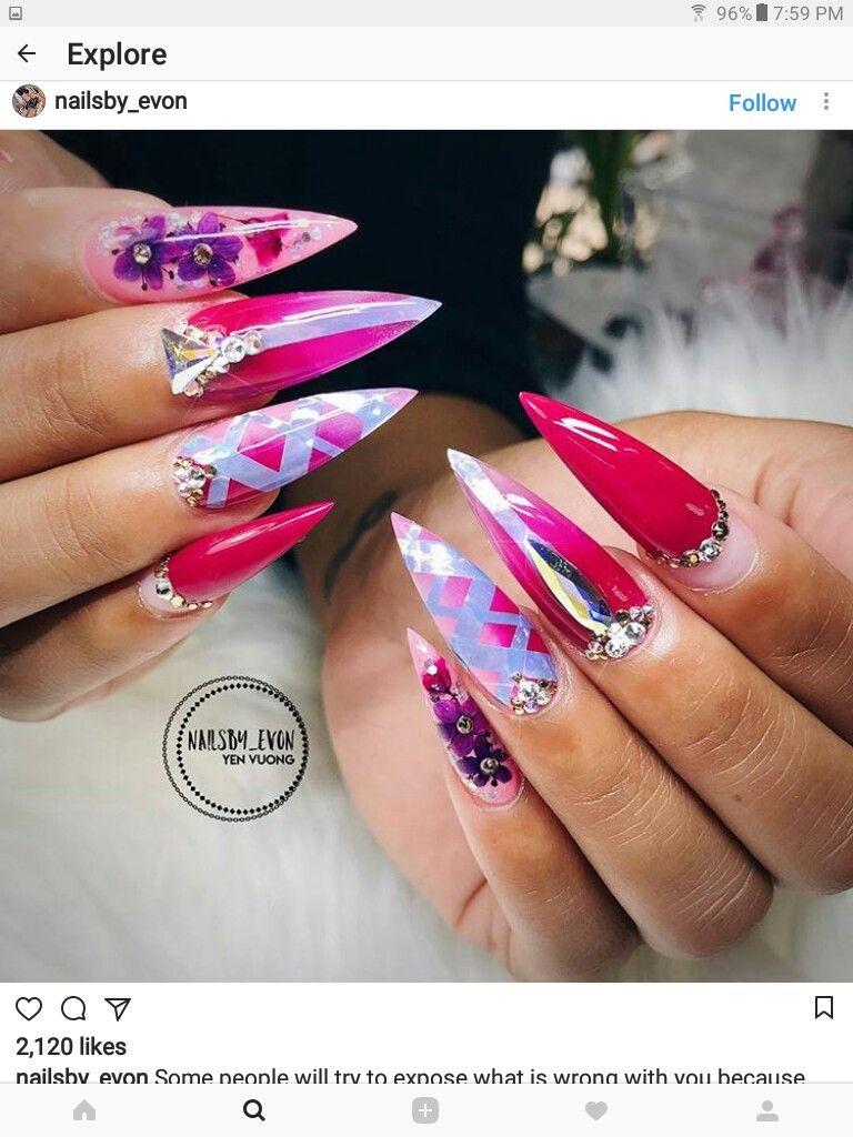 Stiletto nails | nail art design ideas | long nails | Nail Art ...