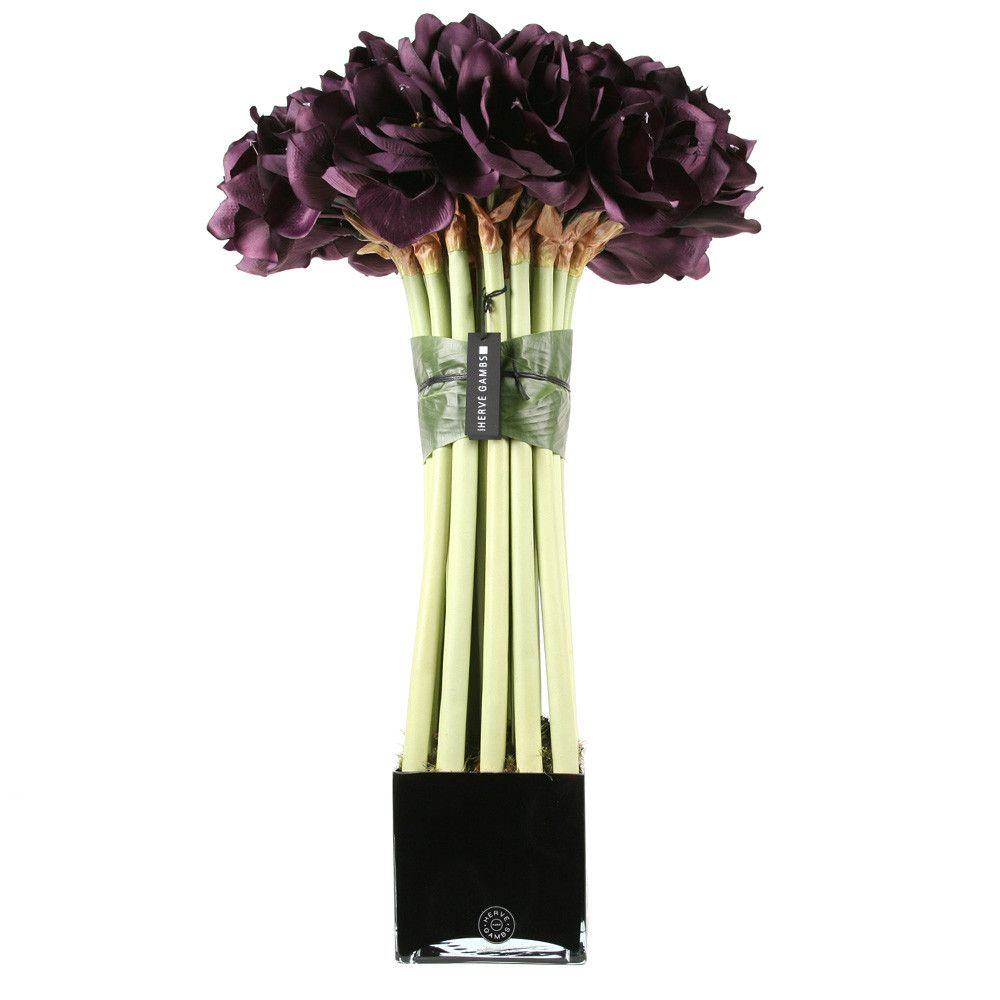 Giant Purple Couture Amaryllis Topiary  Black Glass Cube from Herve Gambs, Love it! #design #interiordesign #details