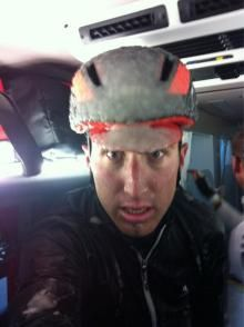 Taylor Phinney (BMC) after Milan-San Remo in the snow and rain.