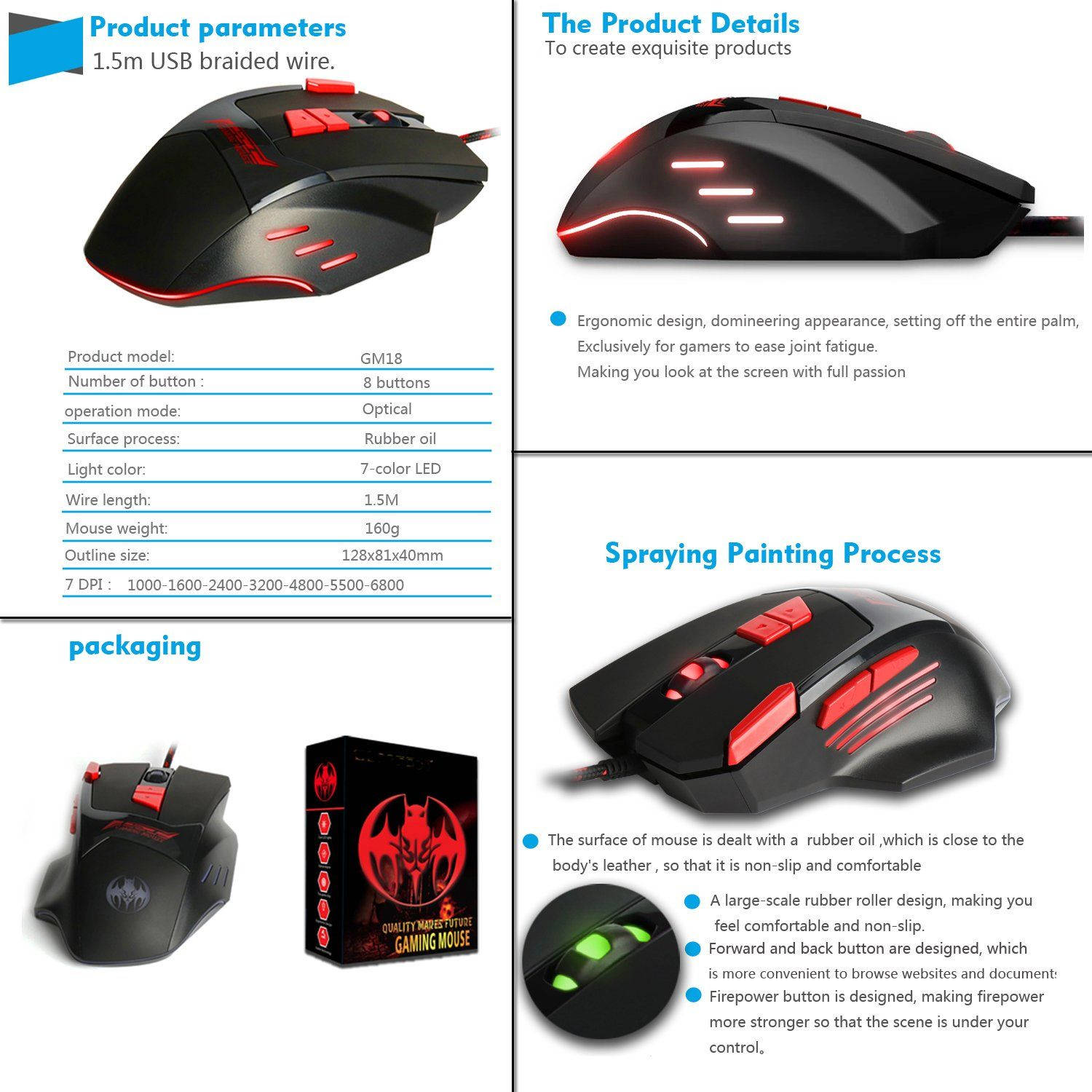 TESHIUCK Wired Gaming Mouse with 8 Buttons,6800DPI,Breathing