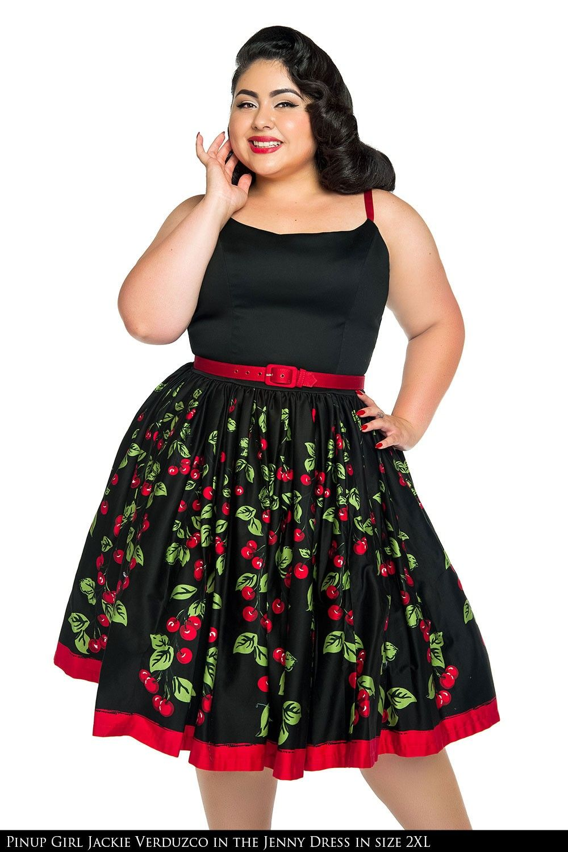 Jenny Dress In Cherry Border Print Plus Size Big Love