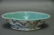 Chinese Famille Verte Porcelain Footed Dish Used