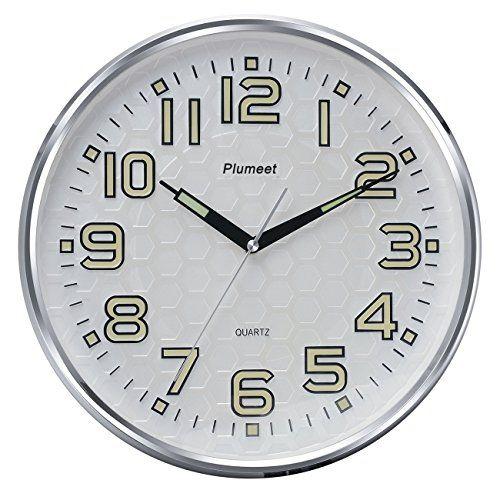 Plumeet Night Light Function 13-Inch Wall Clock Silent Non-Ticking Night Lights