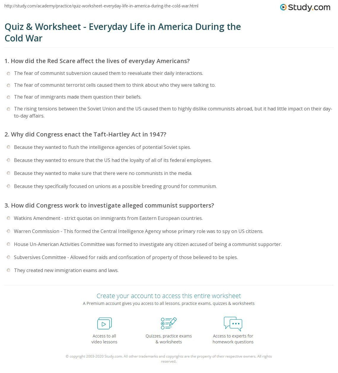 The Red Scare Worksheet Answers Quiz Amp Worksheet Everyday