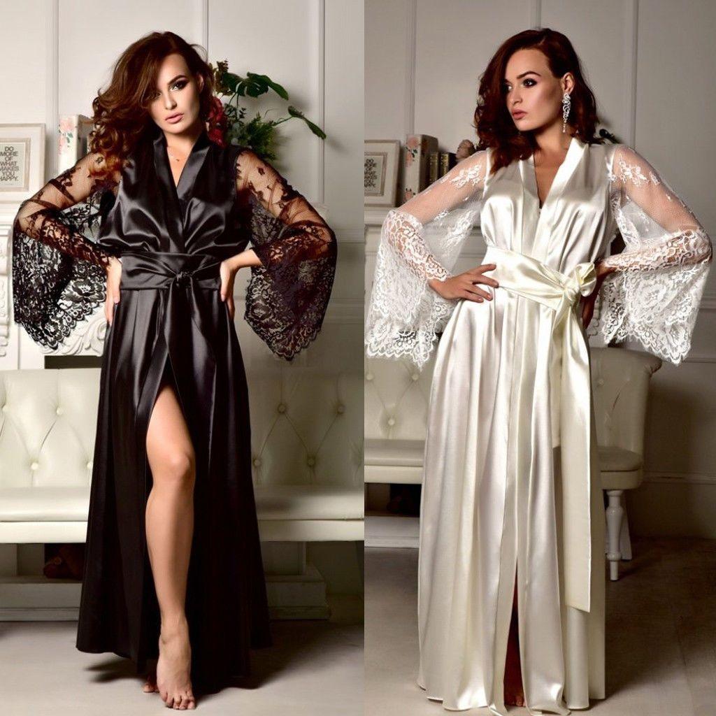 0ebc4b9289f5 Women's Sexy Lingerie Sleepwear Satin Babydoll Lace Nightwear Robe Gown  Sets Lace Summer Fashion Robe