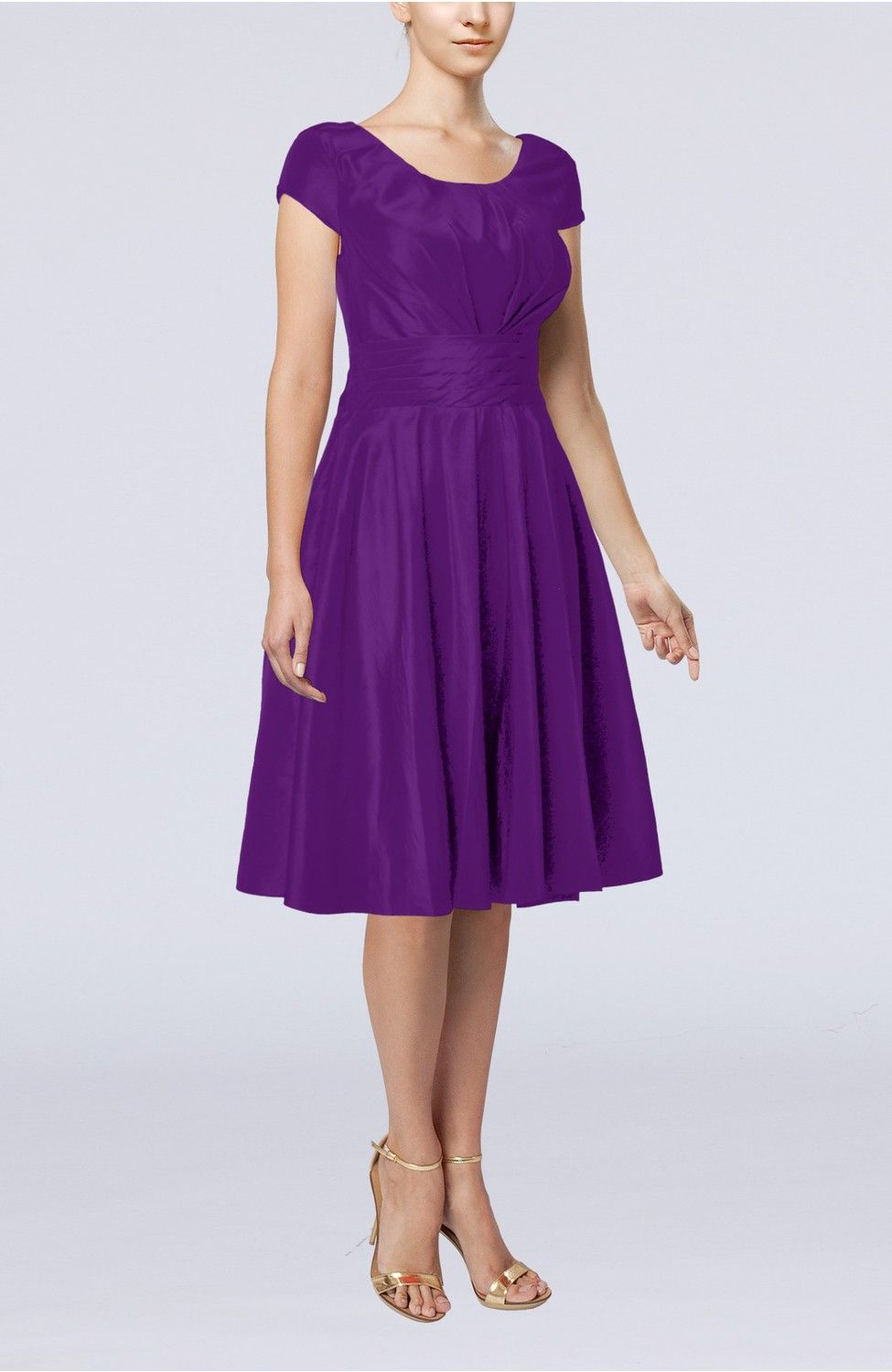 Dark Purple Guest Dress - Simple A-line Scoop Short Sleeve Taffeta ...