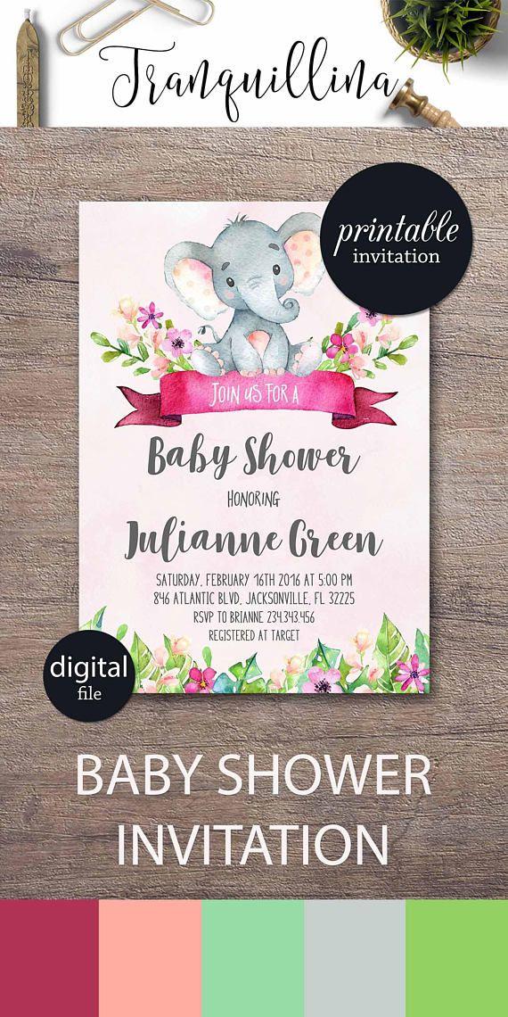 Elephant baby shower invitation Girl Floral baby shower invitation ...