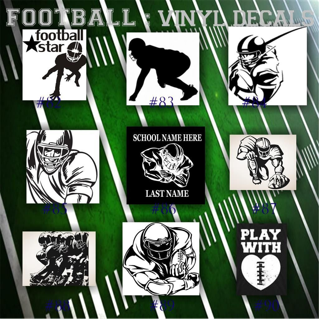 FOOTBALL Vinyl Decals Pg  Car Window Stickers Team Sports - Football custom vinyl decals for cars