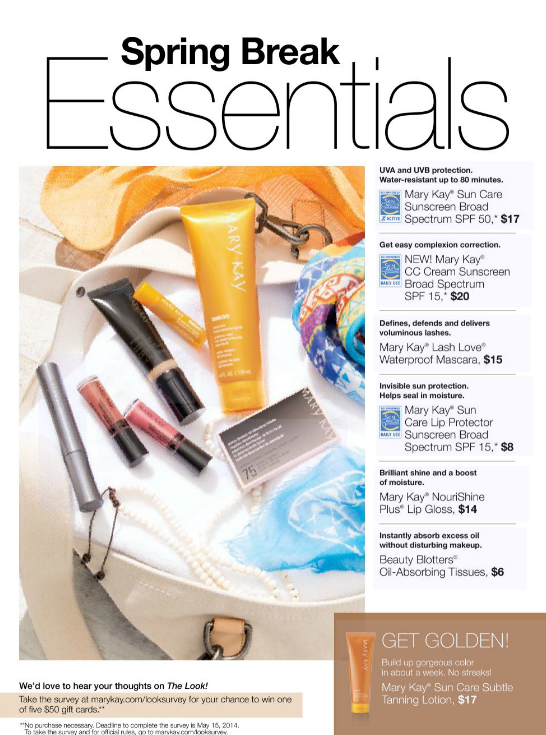 Check out the Spring Break Essentials!  Protect your skin and get that summer glow! www.marykay.com/jdevries4