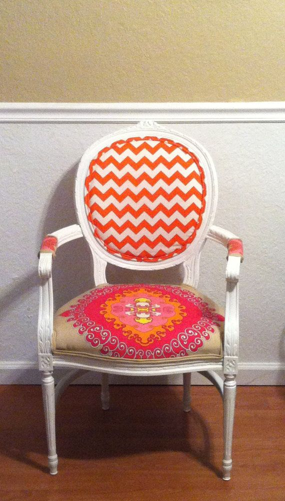 Louis XVI Chair. Trina Turk Fabric.Arm Chair.Pink.Orange