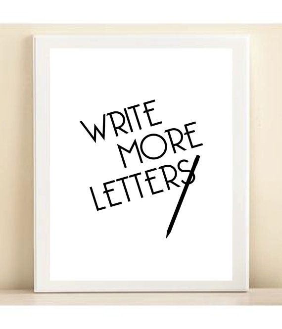 Write More Letters Print Poster By Amanda Catherine Designs