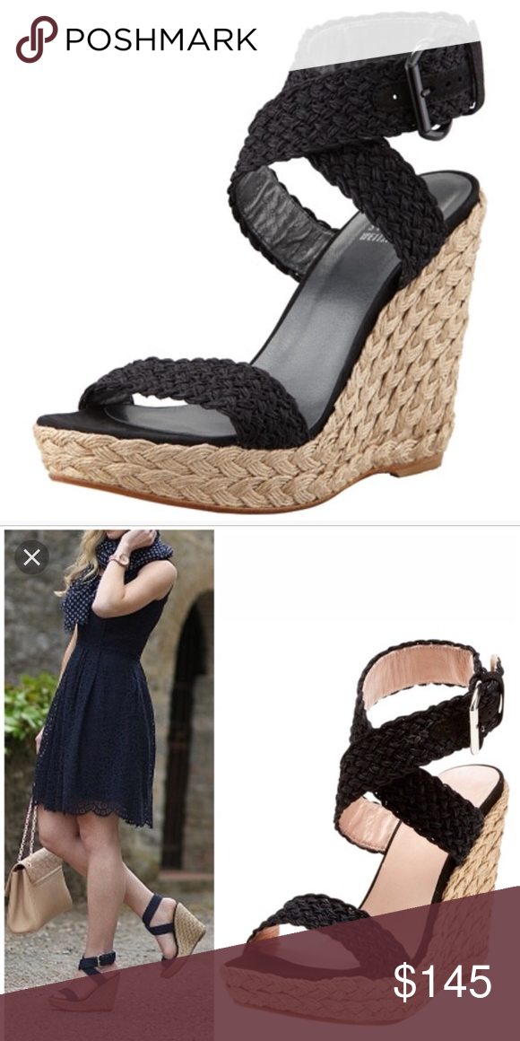"c6869125a6c Stuart Weitzman Alex wedge Black crochet wedge with jute heel. 5"" heel with  1.5"