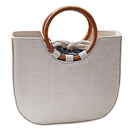 Qzunique Womens Summer Beach Straw Handbag Casual Satchel Bag Top Handle Tote Shoulder