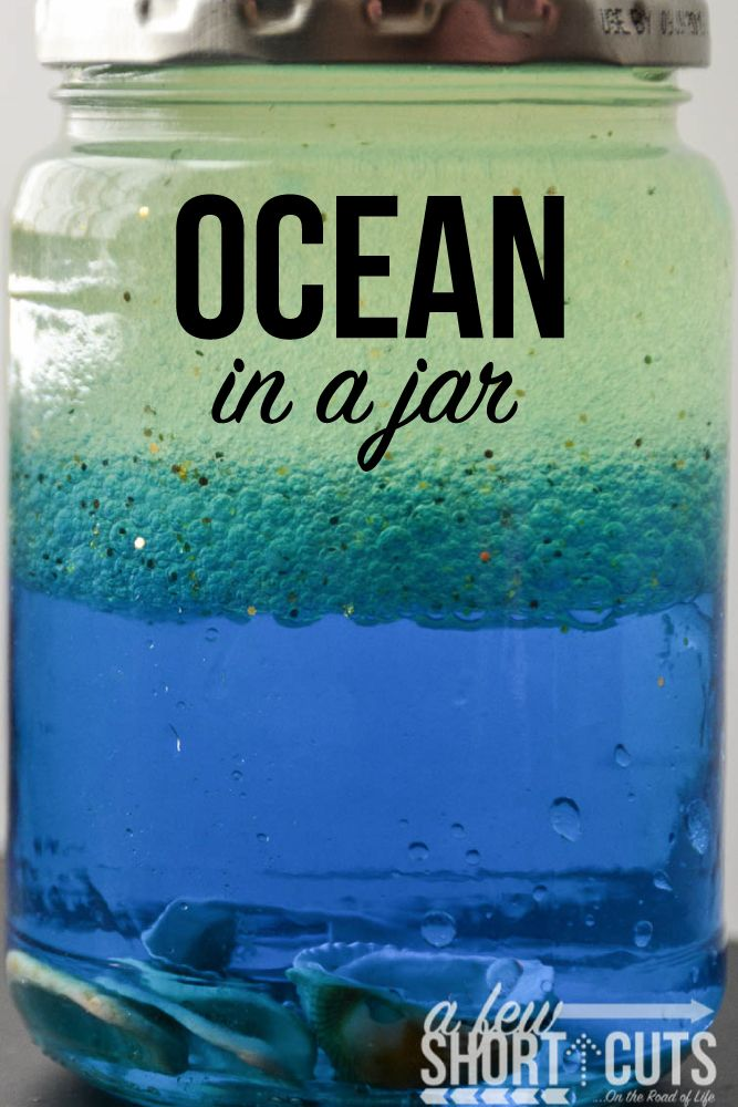 Ocean in a jar ocean party fun learning and shark week my kids love doing fun projects over the summer i love doing them too sciox Image collections