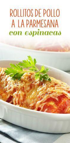 Los Rollitos De Pollo A La Parmesana Son Unas Deliciosas Pechugas De Pollo Rellenas De Verduras Y Queso Cr Pollo Parmesano Rollitos De Pollo Recetas Saludables