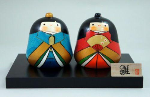 Usaburo Kokeshi Japanese Wooden Doll 10-57 Warabehina Set (Hina Ningyo Dolls)