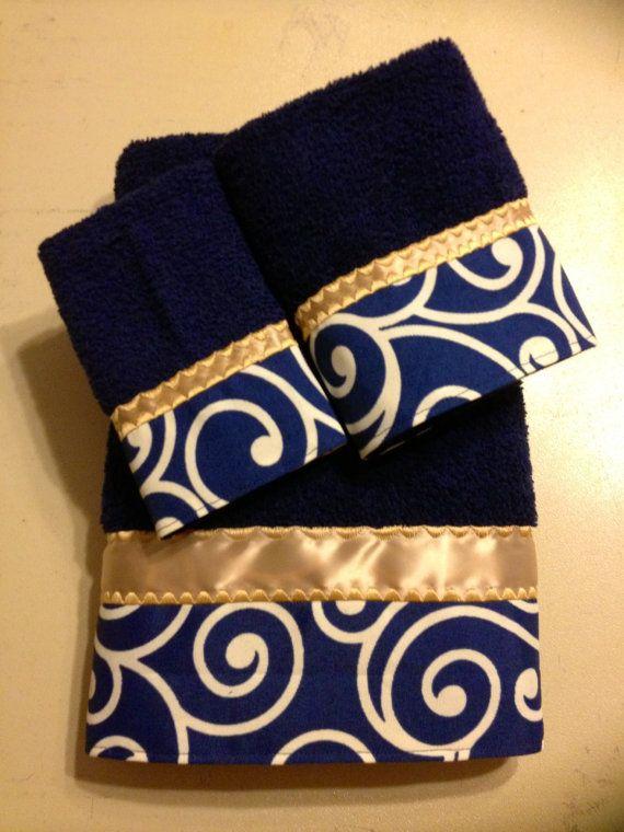 Navy And Gold Bath Towel Set Com Imagens Toalhas Bordadas
