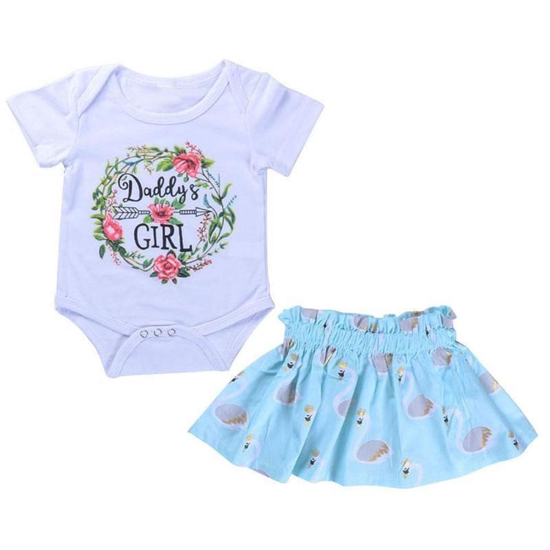 82ddb800bd66 2pcs Set Newborn Baby Clothes Set Girls Summer Short Sleeve O-neck White  Letter Print Rompers + Flower Print Skirt Infant Suit
