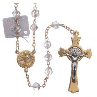 2708a7ffa0e Rosario Medjugorje cristal transparente cruz dorada