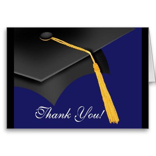 graduation thank you note card black blue grad cap grad cap note