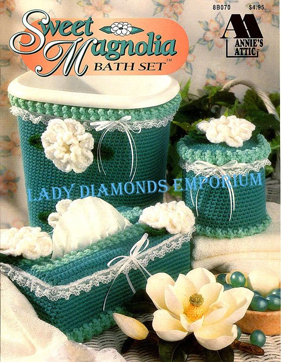 Sweet Magnolia Bath Set to Crochet Covers for Wastebaskets Toilet ...